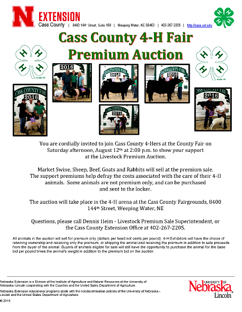 2017 07 26 4 H Livestock Auction flyer for 2017