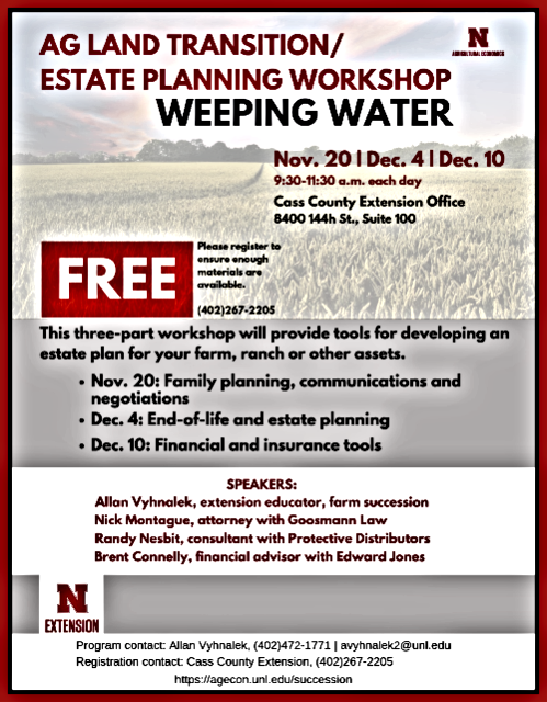 2019 11 06 UNL NE EXT Ag Land Transition . Estate Planning Workshop 2019 1