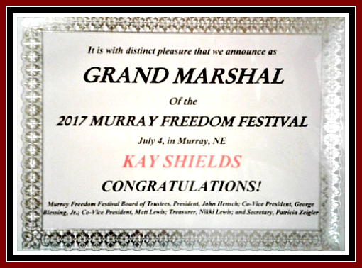 2017 07 04 MFF Grand Marshal cert Kay Shields 1