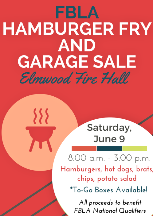 2018 06 06 ELM FBLA GARAGE SALE HAMBURGER FRY 1