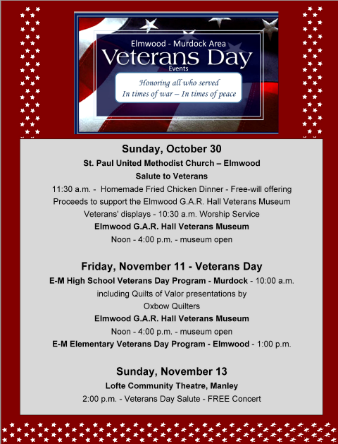 2016 10 26 ELM Veterans Day events