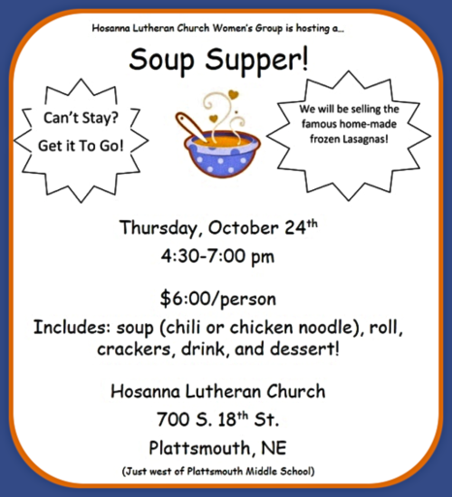 2019 10 09 PLT HOSANNA soup supper