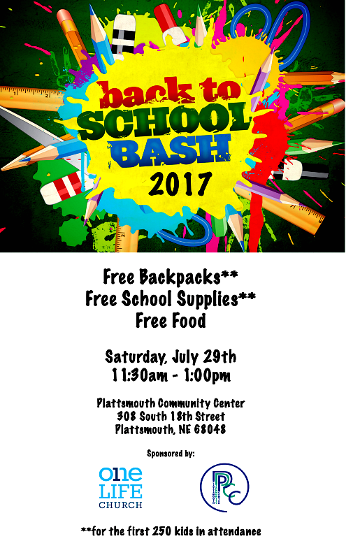 2017 07 19 PLT One Life Chrch Back2SchoolBash2017Poster