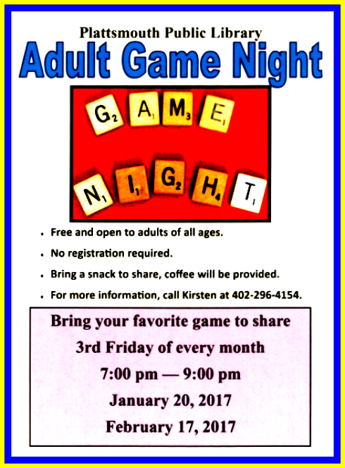 2017 01 18 PLT Library Adult Game Night