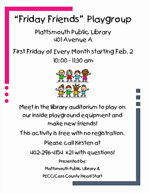 2018 01 24 PLT Lib Friday FriendsPlaygroupPoster