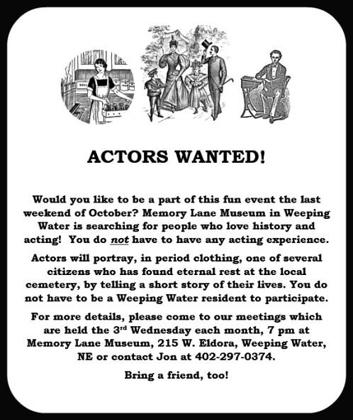 2014 04 25 WW Memory Lane actors wanted