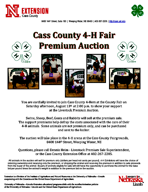 2016 07 27 4H CC Fair auction Livestock Premium Auction flyer