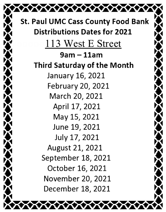 2021 01 13 Food Bank 2021 dates page0001